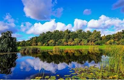 Pond Desktop Phone Finland Reeds Reflection Clouds