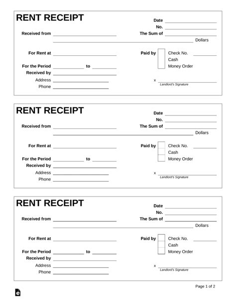 free rent receipt template pdf word eforms free