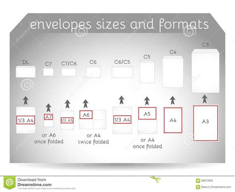 dl envelope size envelope sizes and formats stock vector image 66072920