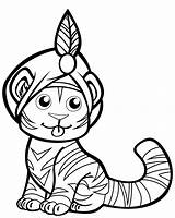 Coloring Tiger Turban Tigre Coloriage Printable Mignon Disegno Dessin Animal Tigers Disegni Tygrys Template Malvorlagen Crafts Cool Supermalvorlagen Gemerkt Drukuj sketch template