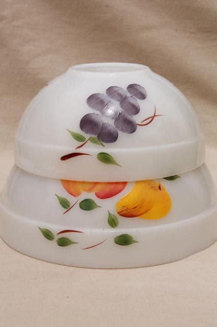 vintage fire king milk glass mixing bowls  hand painted fruit gay fad studios