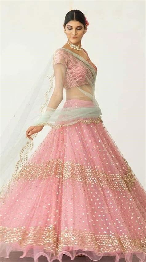 Pink Net Crop Top Lehenga Choli for Ring Ceremony WJ37013