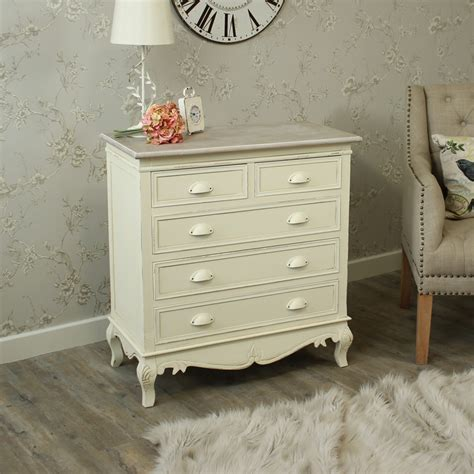 shabby chic bedroom drawers cream painted 5 drawer chest bedroom shabby french chic country furniture home