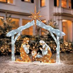 large 72 quot twinkle led lighted figures outdoor nativity lawn set tinsel ebay