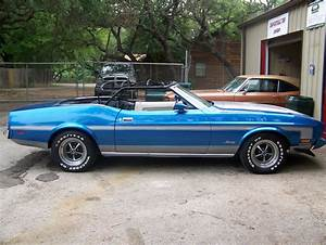 1973 FORD MUSTANG CONVERTIBLE BLUE AND SILVER AC WHITE INTERIOR AND TOP - Classic Ford Mustang ...