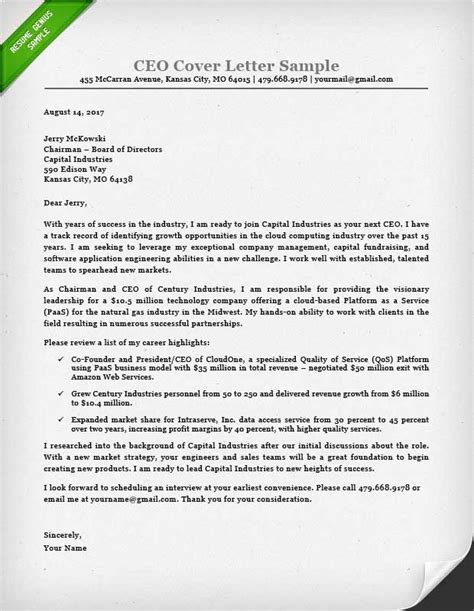 Cover Letter For The Post Of Executive by Executive Cover Letter Exles Ceo Cio Cto Resume