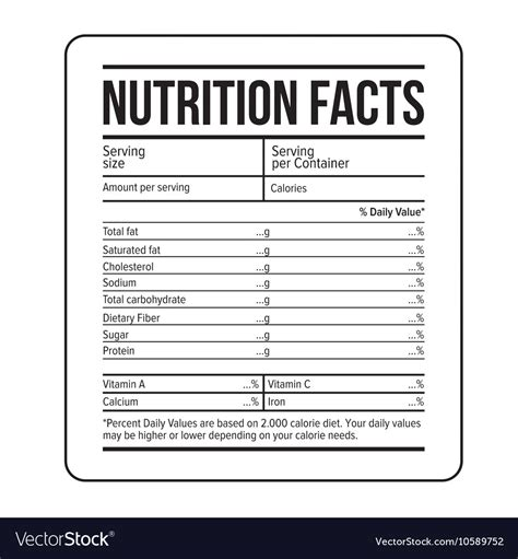 nutrition facts label template royalty  vector image