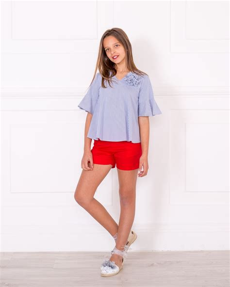 Girls Navy Blue u0026 White Striped Blouse with Red Cotton ...