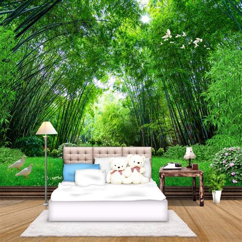 green bamboo forest mural living room bedroom tv