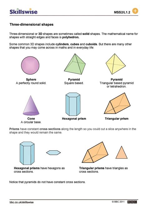 3 dimensional shapes worksheets search results