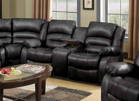 reclining sectional sofa  black bonded leather