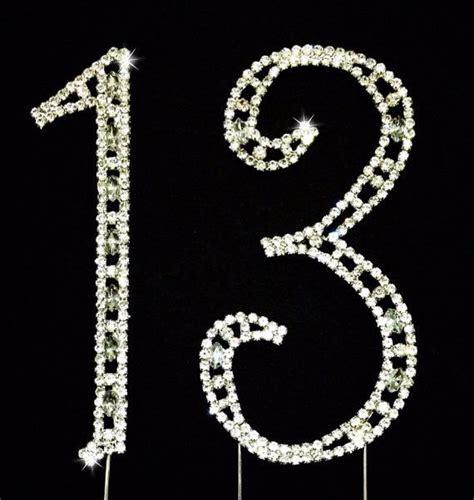 large rhinestone silver number anniversary 13 birthday cake topper silver rhinestone cake