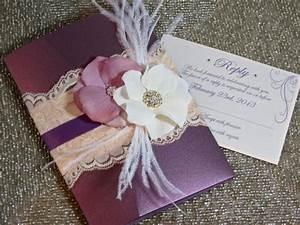 vintage glamour lace wedding invitation plum wedding With plum pocketfold wedding invitations
