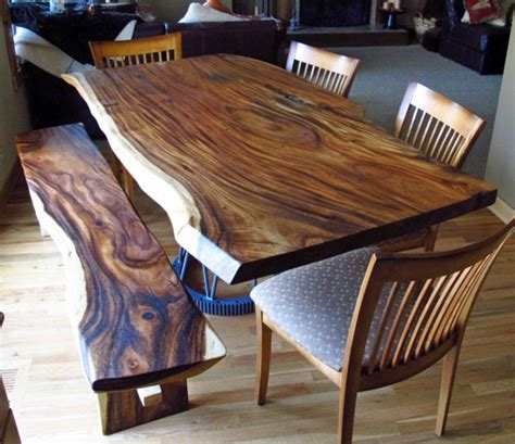 reclaimed natural edge monkeypod wood slab table custom