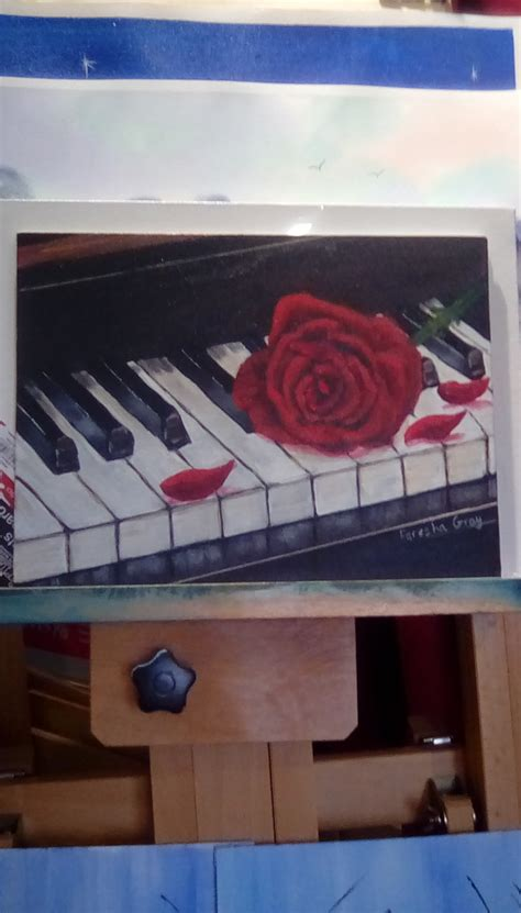 piano  red rose acrylic painting tutorial step  step