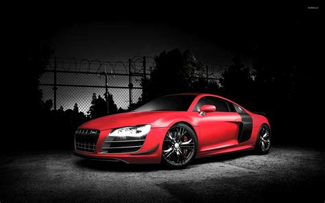 red audi r8 wallpaper red audi r8 by a fence wallpaper car wallpapers 54138