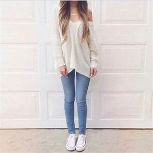 Beauty cute fashion girl jeans look nice outfit pretty simple style sweater white ...