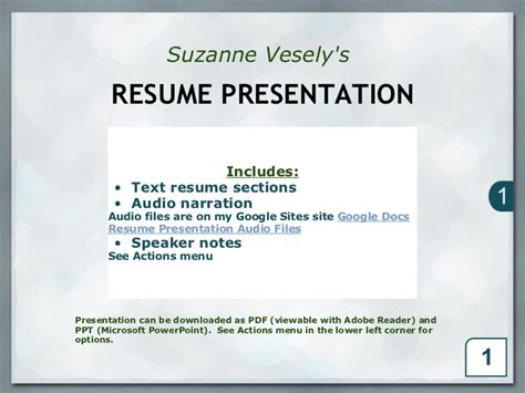 resume presentation technician analyst
