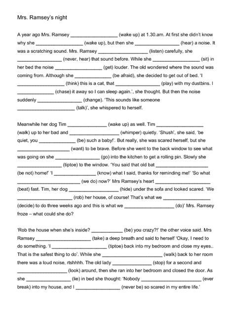 mrs ramsey s night mixed tenses worksheet english