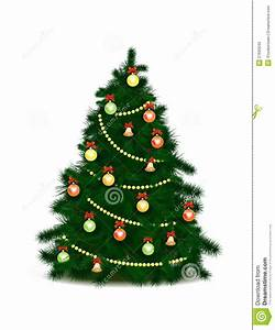 Christmas Tree With Toys And A Garland Stock Illustration ...