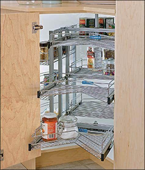 armoire en coin cuisine plateaux pivotants et coulissants pour armoire en coin