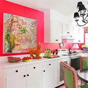 purple and pink kitchen colors adding retro vibe to modern With kitchen colors with white cabinets with pink wall art decor