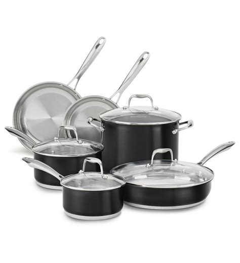 kitchenaid stainless steel  pc cookware pots pans