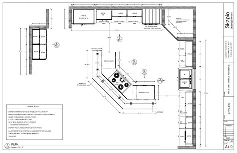 sample kitchen floor plan en  planos de cocinas