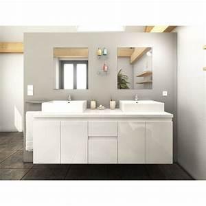 Meuble Double Vasque 150 Cm : meuble de salle de bain double vasque 150 cm blanc coralie ~ Teatrodelosmanantiales.com Idées de Décoration
