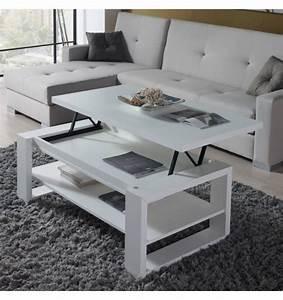 Table Basse Relevable Blanche : table basse relevable design blanche concept ~ Teatrodelosmanantiales.com Idées de Décoration