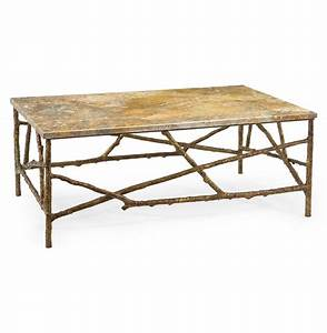 Sun valley rustic lodge antique gold marble branch coffee for Rustic gold coffee table