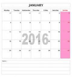 2016 Calendar Template Microsoft Word
