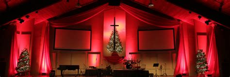 draped christmas church stage design ideas