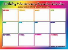 Birthday & Anniversary Reminder Calendar Never forget a
