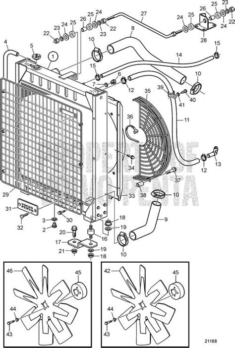 volvo penta exploded view schematic radiator sqm