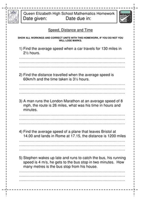 speed distance  time worksheet  jlcaseyuk teaching