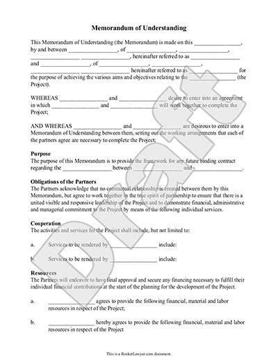 memorandum of understanding template memorandum of understanding form mou template with sle