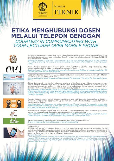Etika Menghubungi Dosen Melalui Telepon Genggam – Fakultas