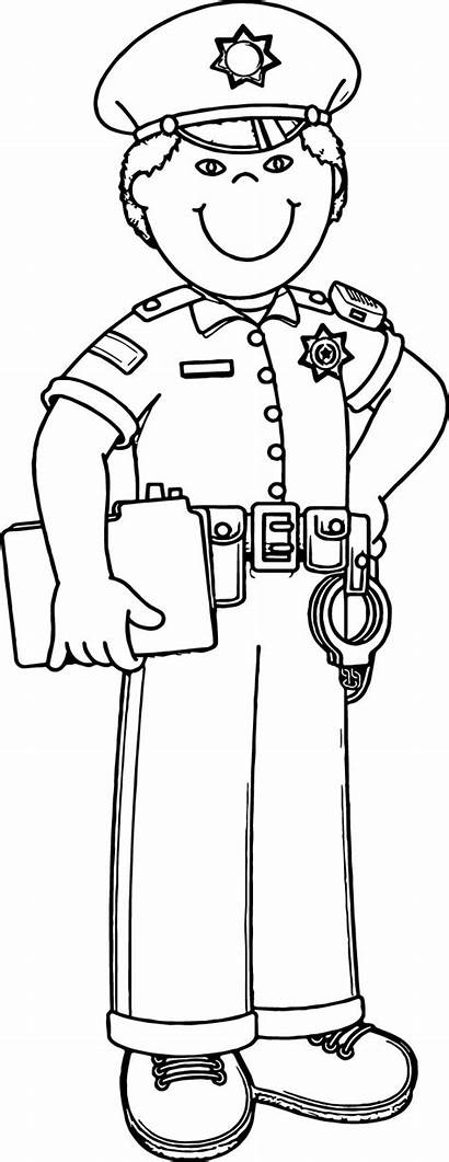 Policeman Coloring Clipart Community Helpers Police Officer