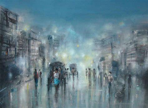 kolkata rain  artist surajit chakraborty impressionism