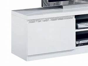 Meuble Blanc Pas Cher : meuble tv roma cromo laqu blanc pas cher ~ Dailycaller-alerts.com Idées de Décoration