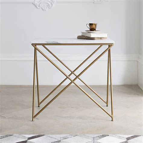 stellar white marble side table