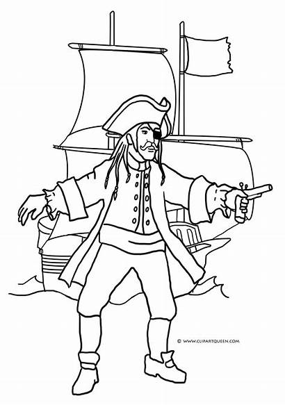 Pirate Coloring Ship Pages Treasure Chest Open