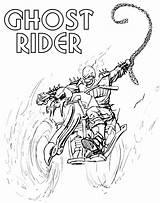 Rider Ghost Coloring Ghostrider Cartoon sketch template