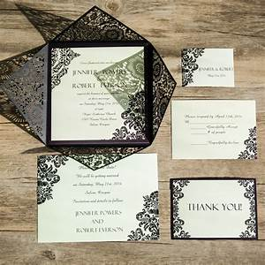vintage black damask laser cut wedding invites ewws061 as With laser cut wedding invitations cheap philippines