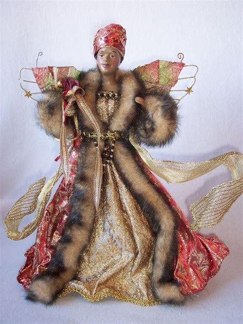 black african american christmas tree top topper angel
