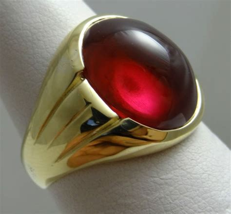antique mens ruby ring  solid yellow gold ring