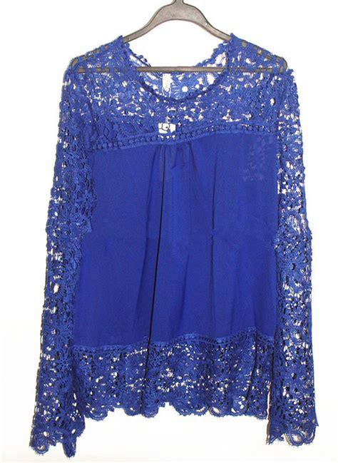 womens lace tops blouses royal blue lace blouse fashion ql