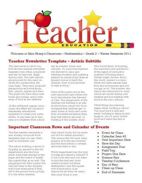 newsletter templates  teaches  school