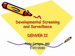 Denver Developmental Screening Chart Ppt Developmental Screening And Surveillance Denver Ii